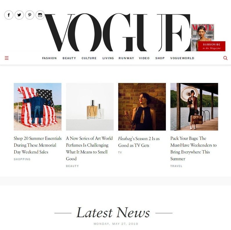 web de vogue en wordpress